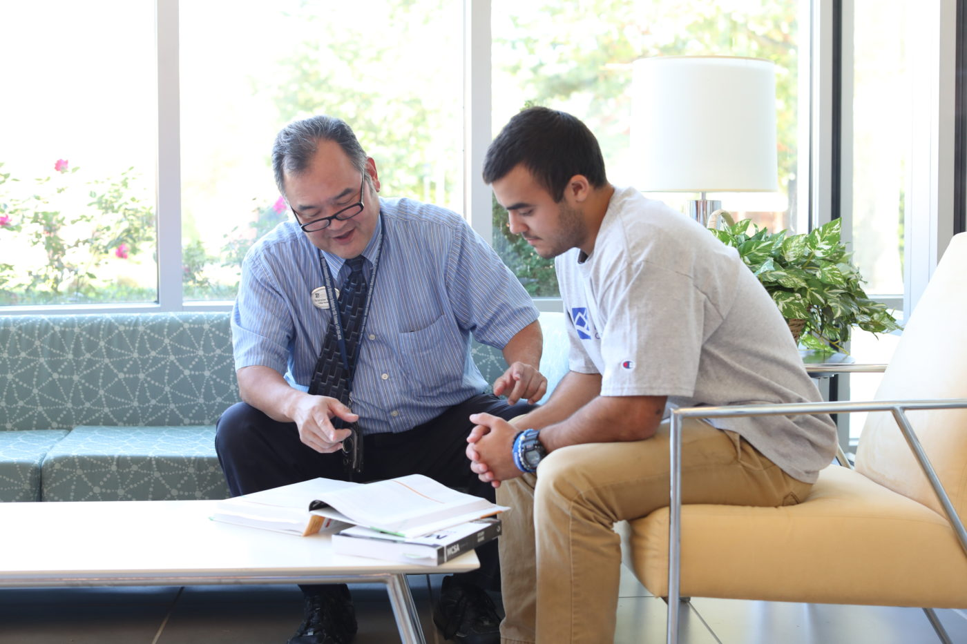 A college student receives guidance from faculty at Dabney S. Lancaster Community College at the Rockbridge Regional Center in Clifton Forge, VA.